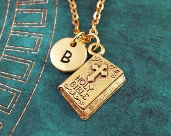 Holy Bible Necklace, Gold Bible Charm, Hand Stamped Necklace, Engraved Necklace, Monogram Necklace, Christian Keychain Book Necklace