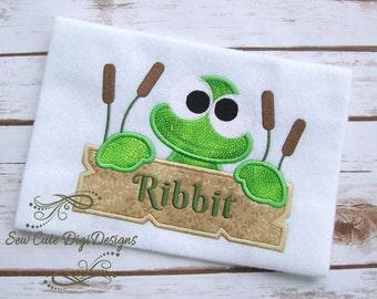 Ribbit - Cute Frog Applique Design