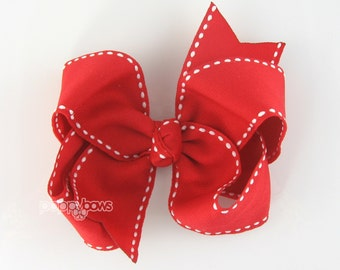 4 Inch Bow Red and White Saddle Stitch Hairbows - Baby Toddler Girl -  4 Inch Boutique Bow - White Stitch Edge