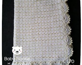 White blanket with yellow Glitter-70 x 90 cm-Handmade-crocheted