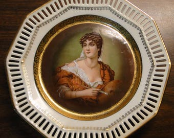 """Vintage Shumann Germany Reticulated HP Portrait Plate - 7 3/4"""" -  Excellent Find!"""
