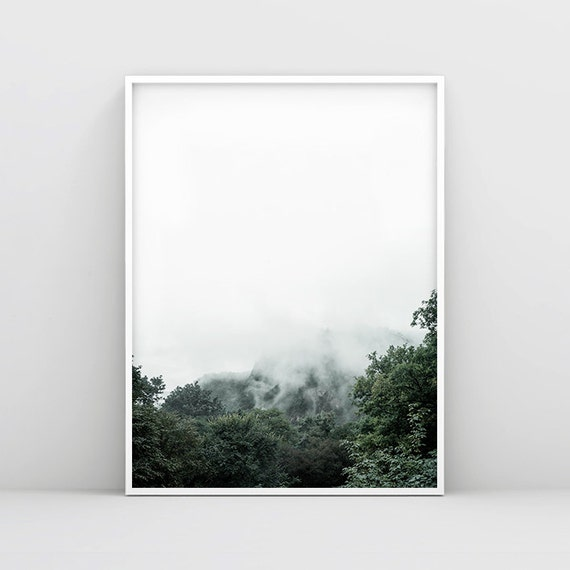 Minimalist Forest Print Nature Wall Art Mountain Wall Art