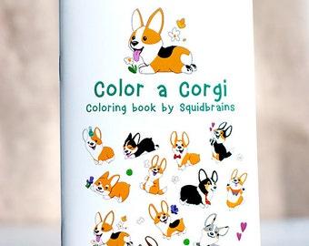 Color a Corgi coloring book