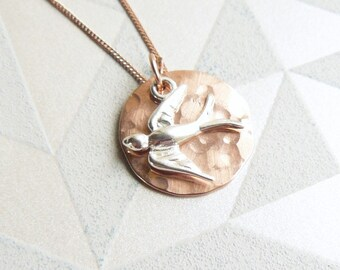 Hammered Rose Gold Disc and Silver Swallow Charm Necklace