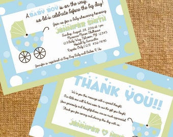 Customized Carriage Baby Shower Invite and Thank You- Digital File