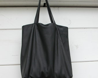Black Leather Tote Bag Made to Order