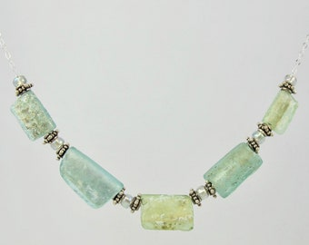 OOAK 17 inch gorgeous sterling and Israeli excavated ancient Roman glass slide necklace FREE SHIP