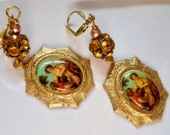 Romantic Victorian cameo earrings Art Nouveau earrings Edwardian vintage style Art Deco earrings topaz crystal Georgian romance