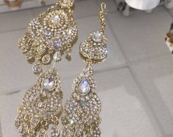 Indian gold and silver jummar, tikka set with matching earrings