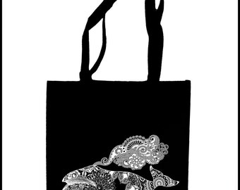 COLOSSAL WHALE Mandala Tote Bag  Screen Print Psychedelic Humpback Sacred Geometry Bag