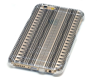 Last One, 2 Piece Case, Jagged Lines Pattern, Black Ink,  Transparent Clear Phone Case fits iPhone 6 or iPhone 6s Only, Last 2 Piece Case