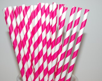 Hot Pink Stripe Paper Straws - 25/Pack