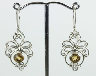 Boho Style Curled Sterling Silver Citrine Drop Earrings