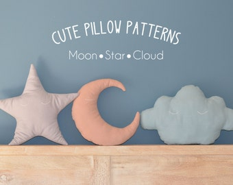 """Moon - Star - Cloud Pillow Sewing Pattern in 2 sizes (13"""" and 18"""") // Toy Pattern // Easy Sewing Pattern // Instant Download // PDF"""
