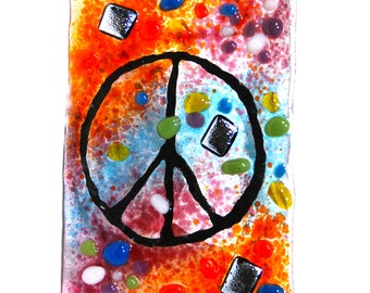 Night Light, fused glass, Hand Made, Groovy Peace sign, nightlight fixture, Tie dye colors, Glass night light, art glass, wall light,