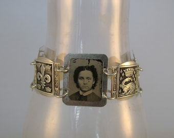 Ancestry - Antique 1870s Tintype Photographs, French Silver Links Recycled Repurposed Jewelry Assemblage Bracelet