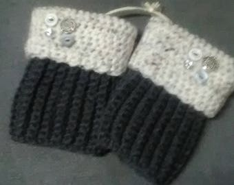 Charcoal and cream crocheted boot cuffs with button detail,crocheted boot cuffs,winter accessories warmth,ready to ship