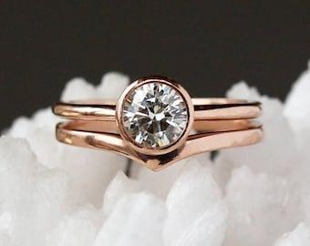 Diamond Engagement Ring, 14k Rose Gold, Unique Engagement Ring, Large Diamond Ring, Round Brilliant Diamond, Conflict Free Diamond Solitaire