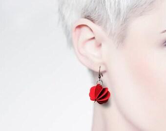Paper drop earrings, red pendant earrings, paper jewelry, spherical earrings, women's jewelry, gift for her, anniversary, unique jewelry