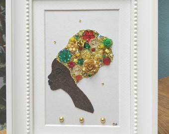 African button art picture of a lady in head wrap