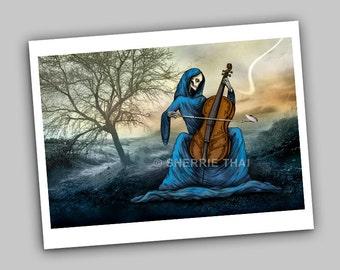 Melancholy Sonata, Skeletal Cello Fine Art Print, 8x10