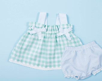Baby Girls' Two Piece Set In Gingham Print