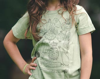 Vegetables Kids Tee Screenprinted shirt Organic cotton usa made