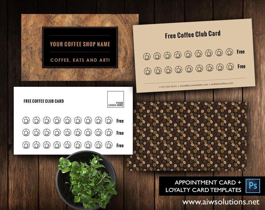 Free Coffee card template free Salon Loyalty Business Card