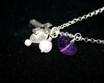PURPURROT OSTERN Madagascar Amethyst, Pearl and Sterling Necklace