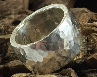 Silver Ring with Hammered Finish, 1/2 Ounce