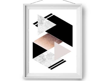 Art Prints, Marble Copper Black Art, Modern Geometric Art, Scandinavian Print, Wall Decor, Modern Art, 11x14 in, A5, 50x70 cm, Print Avenue