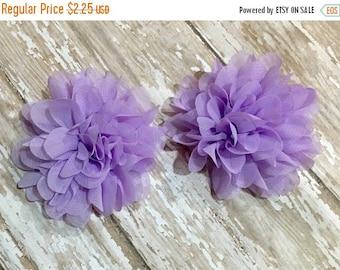 "ON SALE Lavender Chiffon Flowers, 3"", Petal, Set of 2, Craft Supplies, Baby Headbands, Infant Headband, Hair bows, DIY Weddings, Sewing, Who"
