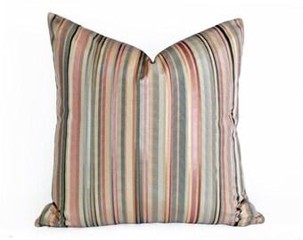 Pastel Striped Pillow, Pink Striped Pillow, Cream Pink Green Pillow, Striped Throw Pillow, Striped Decorative Pillows, 12x18 Lumbar,  SALE