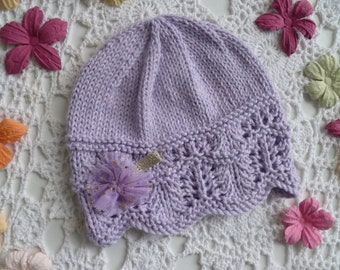 Hand-knitted lilac baby girl lacy beanie w fancy hairclip, 8-ply Australian cotton, 3 - 6 months, baby cotton hat, baby gift
