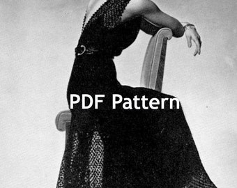 Knitted Evening Wedding Gown and Evening Jacket Knit Crochet Finish Pattern Sizes 16 and 18 Digital Download PDF