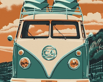 Half Moon Bay, California - VW Van - Letterpress (Art Prints available in multiple sizes)