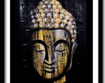 Buddha Painting on Canvas, Buddha Wall Art, Zen Painting, Large Wall Art, Spiritual, Wall Decor, Buddha Face; Ready To Hang!!
