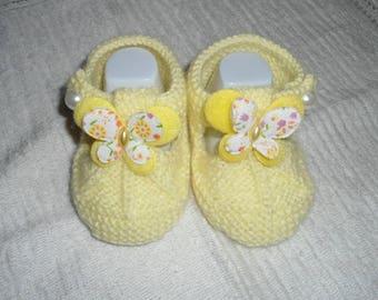 Baby wool sandalette Yellow Butterfly shape
