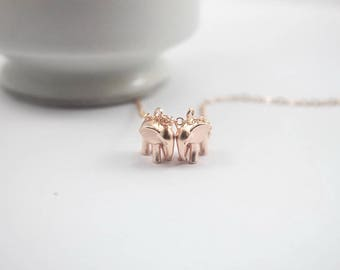 Lucky Couple necklace,2 elephants necklace. Rose gold Elephant Jewelry. engagement gift,for girlfriend,anniversary gift for women, birthday
