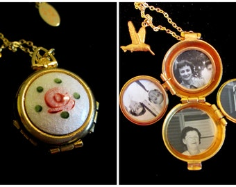 Vintage Gold Filled 4 Picture Locket Bountiful Nectar and Hummingbird