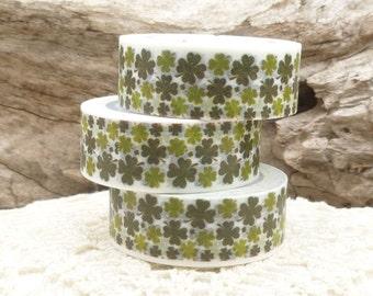 Four Leaf Clover Shamrock Green Washi Tape - I584