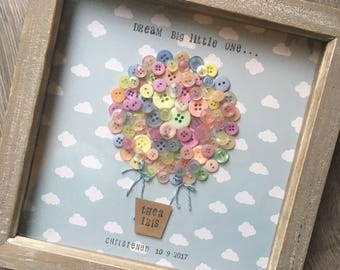 """Pastel colour button hot air balloon """"dream big little one""""  Christina's birthday and christening gift for kids bedroom art"""