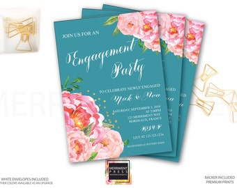 Engagement party Invitation // She said yes // Peonies // Peony// Blue / Teal //Bridal Invite // Pink // Gold Glitter // BORDEAUX COLLECTION