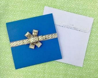 Birthday Present Card Gold Ribbon Bow Happy Birthday Sentiment