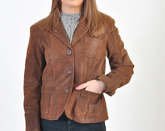 Vintage 90s suede leather blazer jacket
