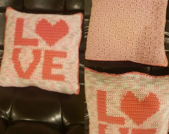 Crochet letter graph pillows. Proceeds go to charity.