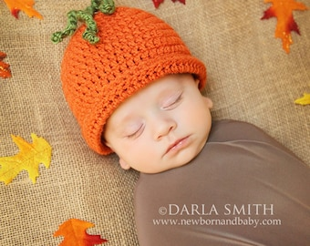 Crochet Pumpkin Hat Beanie Newborn Baby Size Fall Hat