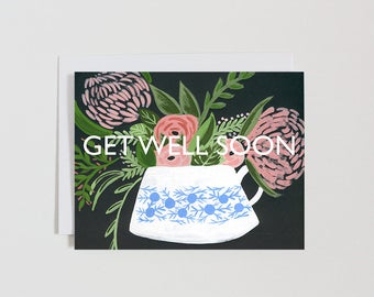 EVERYDAY - Card - Note - Blank - Get Well Soon - Friend - Tea cup - Flowers