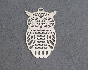 5 pendants charms, OWL prints, OWL steel stainless 25x15mm, pendant, jewelry making, OWL jewelry