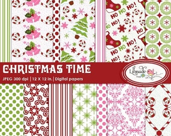 50%OFF Christmas digital papers, Christmas scrapbook paper, Christmas patterned papers, winter digital papers, Holiday digital papers,